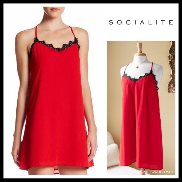 9066d2081d4c Socialite Dresses | Black Lace Trim Red Slip Mini Dress | Poshmark